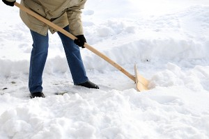 shoveling snow to prevent furnace failure
